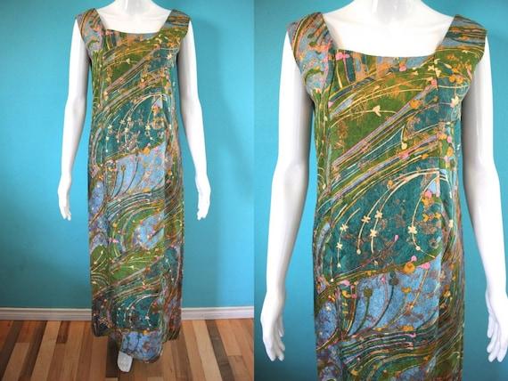 60's Maxi Dress 60's Psychedelic Print Brocade Max