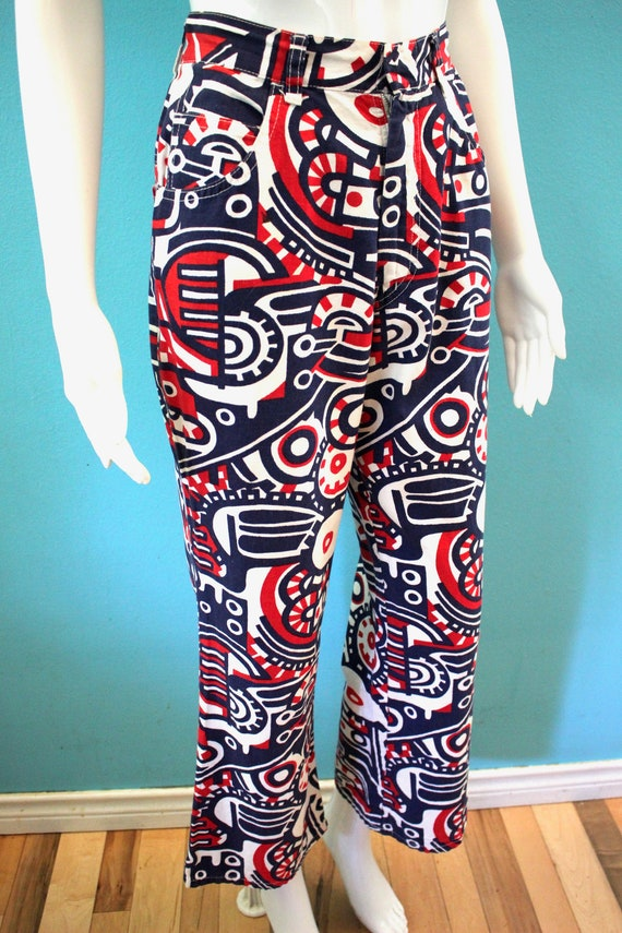 70's Women's Pants Late 60's/Early 70's Red White… - image 5