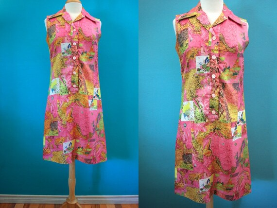 60's Dress    Pink Photo Map Print 60's Shift Dres