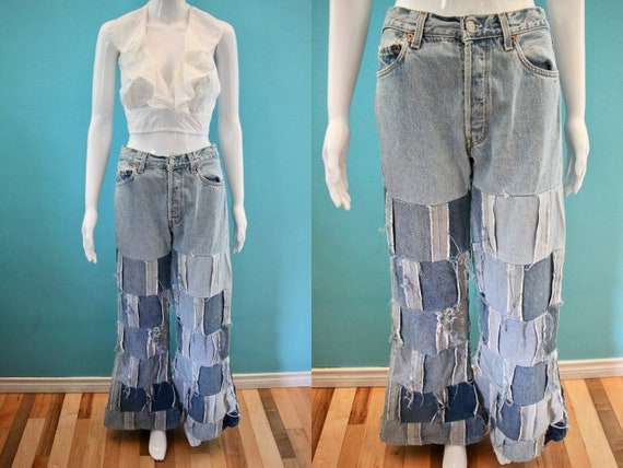 70's Jeans 1970's Patchwork Bell Bottom Levi's Jea