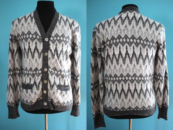 60's Men's Cardigan Sweater   60's Fair Isle Print