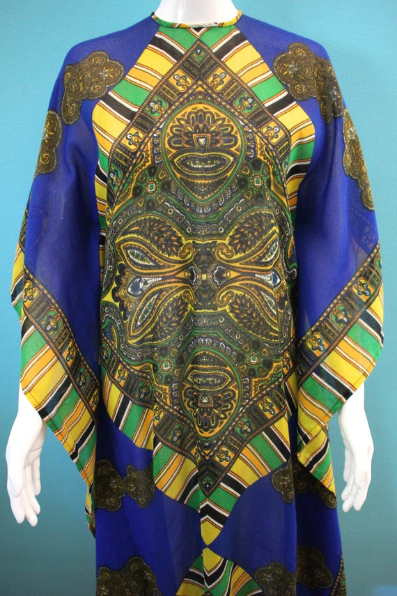 60's Kaftan 60's Blue And Yellow Paisley Print Sh… - image 3