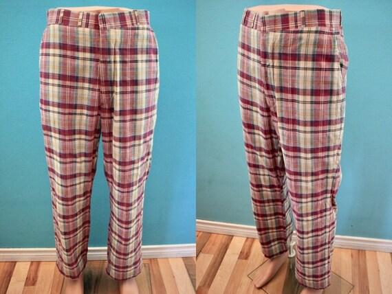 70's Men's Pants 70's Madras Plaid Men's Golf Pant