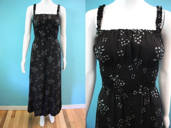 70's Jumpsuit 1970's Black And Silver Palazzo Jump