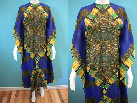 60's Kaftan 60's Blue And Yellow Paisley Print Sh… - image 1