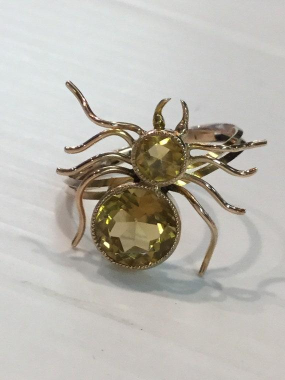 Vintage Citrine Spider Ring-9k Yellow Gold Convert