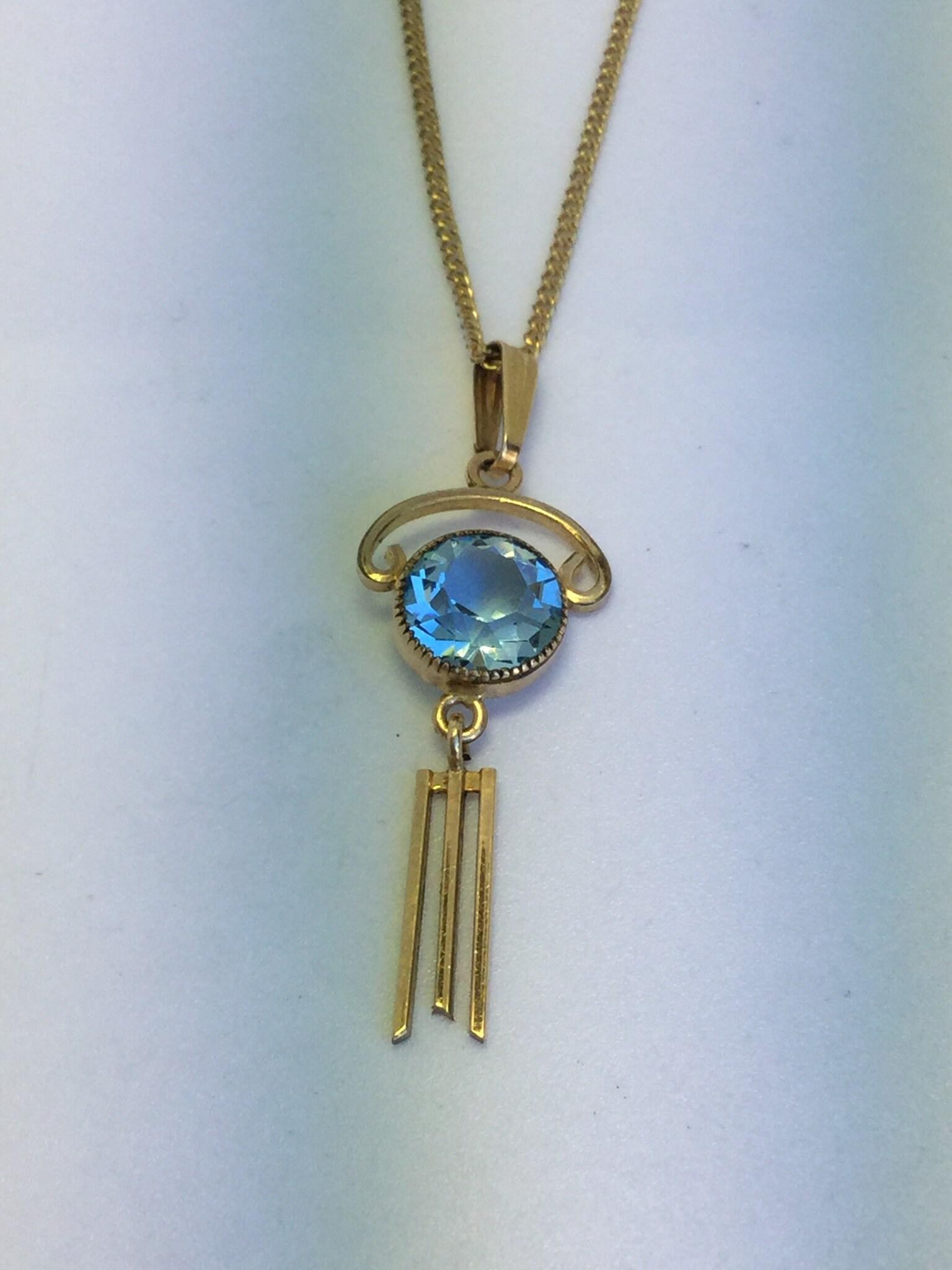 358de10fea348 Art Deco Gold Filled Blue Stone Pendant-Synthetic Blue Topaz Signed Simmons  18