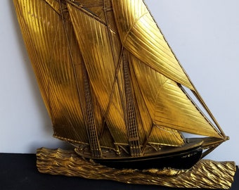 Large 1972 Gold with Black Hard Molded Plastic Sail Boat Wall Decor by Dart, Inc. Made in USA