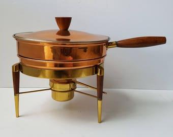 Vintage Mcm Chaffing Copper Brass Fondue Pot Chafing Dish No Lid Sterno Decorative Arts