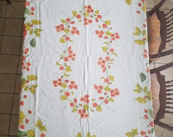 Oblong Cotton Fabric Floral Table Covering