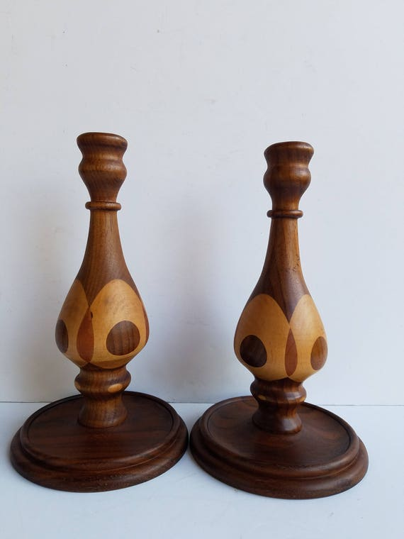 wood turning candle holders Pair Of Rounded Marquetry Wood Turned Candlesticks Or Candle Holders