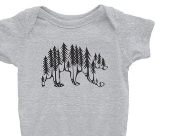 Forest Bear Infant Bodysuit Onesie comes in Heather grey, White and Pink