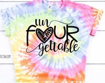 un Four gettable 4 year old shirt Girls unforgettable Shirt four year old shirt Youth Little girls 4th birthday top trendy fourth tie dye