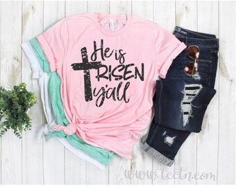 f2e41bc1 He is Risen y'all Girls Easter Shirt | Infant Toddler Youth Childs Ladies  Adult Religious Christian Inspirational Spring Top Pink