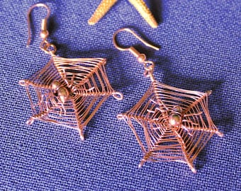 Copper Spider, Web and Spider Earrings, Copper Earrings, Arachnid Earrings, Spider, Arachnid, Copper, Earrings, Spider Web, Spider