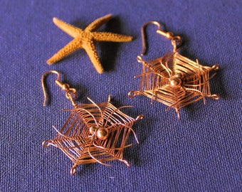 Copper Spider and Web Earrings, Spider Earrings, Copper Earrings, Arachnid Earrings, Spider, Arachnid, Copper, Earrings