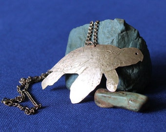Turtle Necklace, Copper Turtle, Turtle, Necklace, Copper, Shellaced Copper Turtle