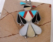 Zuni Eagle Pendant Necklace - Inlaid Eagle Brooch With Sterling Silver Chain