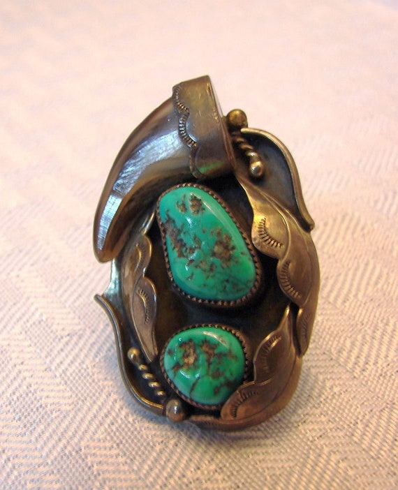 Silver Turquoise Ring - Turquoise Nugget Ring