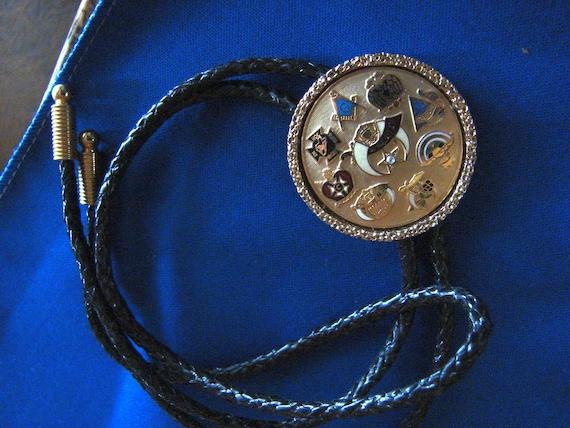Masonic Bolo Tie - Mason Symbols Bolo Tie With Bla
