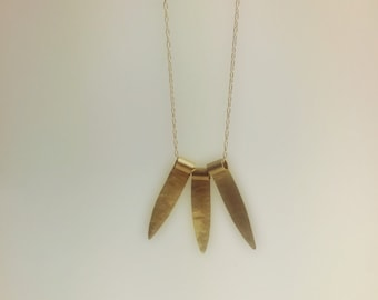 Tricot Spike Necklace Long Gold Necklace Minimalist
