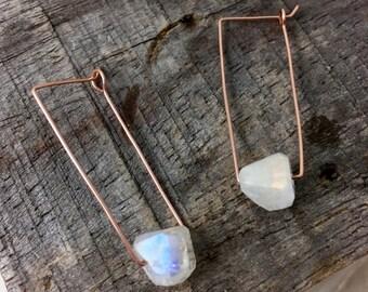 "Moonstone Rectangle Earrings, 1.25"", in Rose Gold Fill, 14K Gold Fill, or .999 Fine Silver"