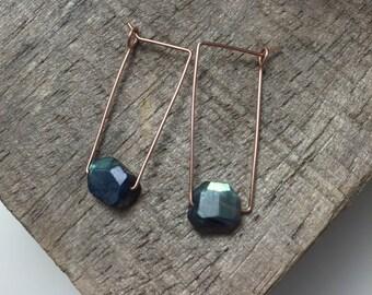 Blue Flash Labradorite Crystal Geometric Earrings, Rose Gold Fill Ear Wire, Modern 22g Ear Wire Rectangular Hoops