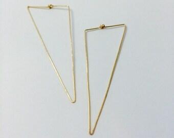 Trifecta Hoop Geometric Minimal Earrings in 14K Gold Fill, Rose Gold Fill, or Sterling Silver