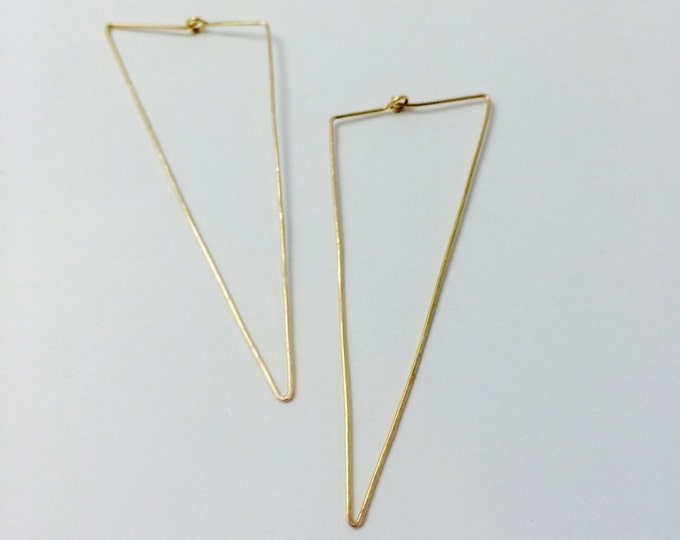 No. 25 Trifecta Hoop Geometric Minimal Earrings in 14K Gold Fill, Rose Gold Fill, or Sterling Silver