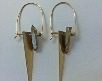 Gold Quartz Cutting Edge D-Hoops