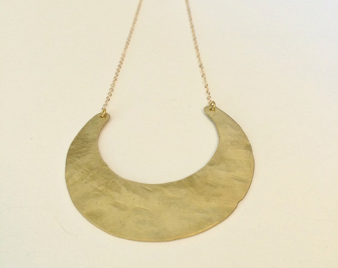 Hammered Brass Moon Arc Horn Plate Necklace