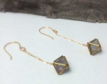 Fluorite Diamond Encased in Brass Matrix Drop Earrings