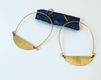 Big Semicircle Hammered Brass Loops Front Facing Hoops in Gold Bold Geometric Statement Earrings