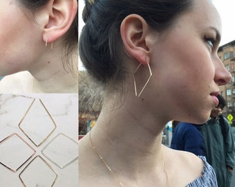 Diamond Open Hoop Earrings in 14k Gold Filled, Rose Gold Filled or Sterling Silver