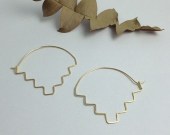 Ziggurat Art Deco Step Hopi Cloud Geometric Minimal Hoop Earrings in 14K Gold Filled, Rose Gold Filled, or Sterling Silver