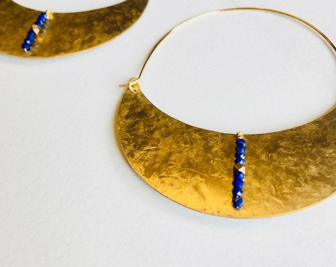Big Moon Hoops with Lapis Lazuli