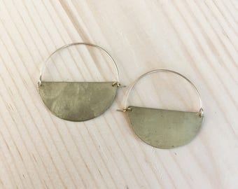 Semicircle Hoop (Brass Semicircle, 14K Gold Filled Ear Wire