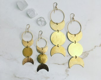 Goddess Earrings Hand Forged Brass Moon and Planet Wiccan Triple Goddess Symbol