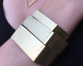 No. 29 Bold Chunky Graphic Hexagonal Cuff Bracelet in Raw Copper or Brass