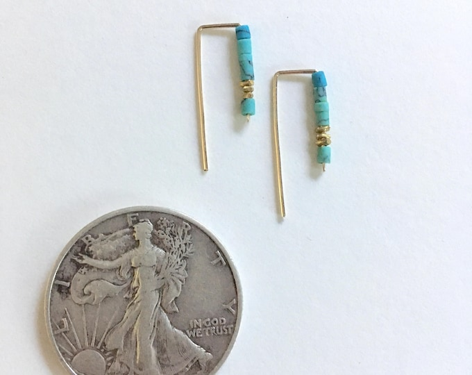 TURQUOISE STAPLE EARRINGS Wire Earrings, Open Hoops, Rectangle Hoops, Hook Earrings, Heishi Tiny Bead, Dainty Earrings