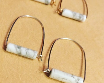 Marbled D Hoops Minimalist Tube Stone Hoops Gold filled or Sterling Silver