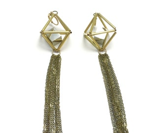 Prism Pyrite Himmeli Tassel Earrings / 3D Gold Brass Tetrahedron with Pyrite Cube in Geometric Cage Minimal Modern Jewelry