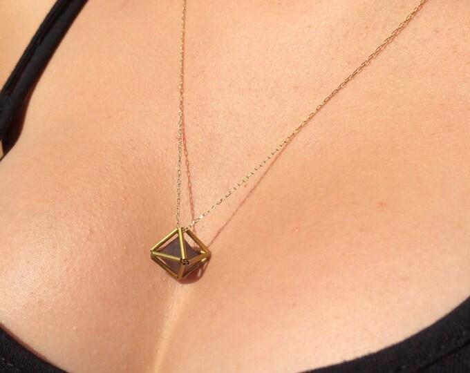 No. 44 Fluorite Matrix Necklace natural fluorite diamond enclosed in brass. Gold fill chain.