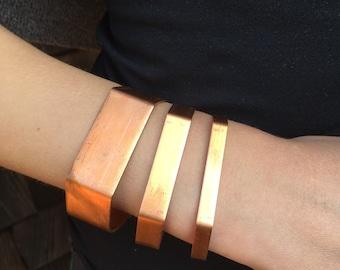 Copper Hexagon Cuff Geometric Statement Bracelet
