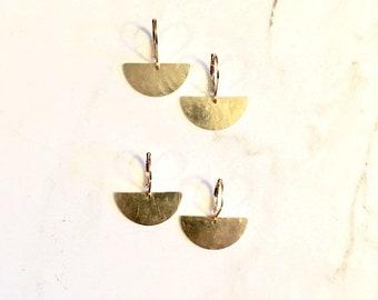 Half Moon Hammered Brass Drop Earring Gold Semi Circle