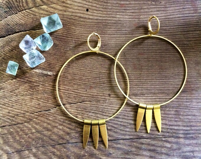 Tricot Spike Large Loop Hoop Earrings Gold Earrings Big Hoops With Gold Spikes