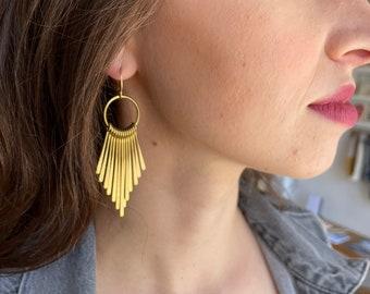 Brass Dovetail Fringe Earrings