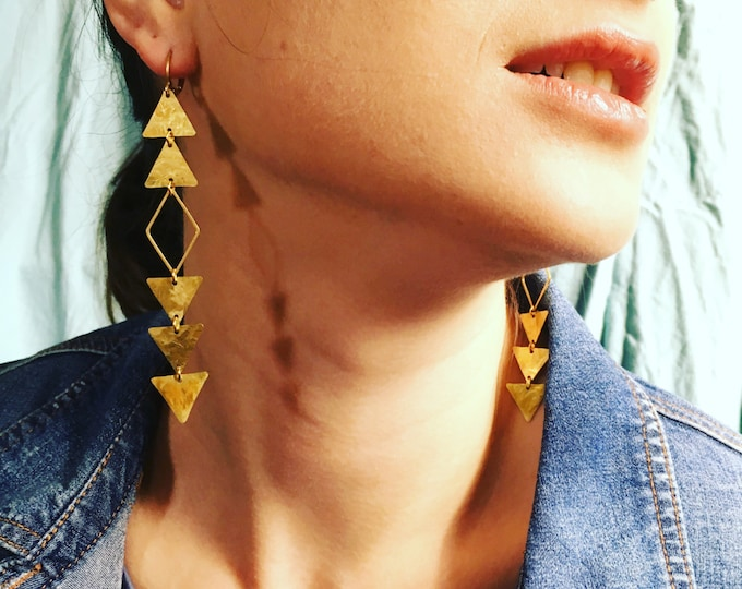 ELDORADO EARRINGS Eldorado-Long Hammered  Brass Arrow Motif Earrings Shoulder Dusters, All-Seeing-Eye