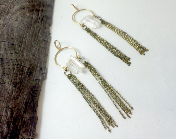 No. 51 Long Fringe Earrings Long Tassel Earrings With Quartz Cluster Crystal Earrings Bold Gypsy Bohemian Goddess Chain Tassel Earrings