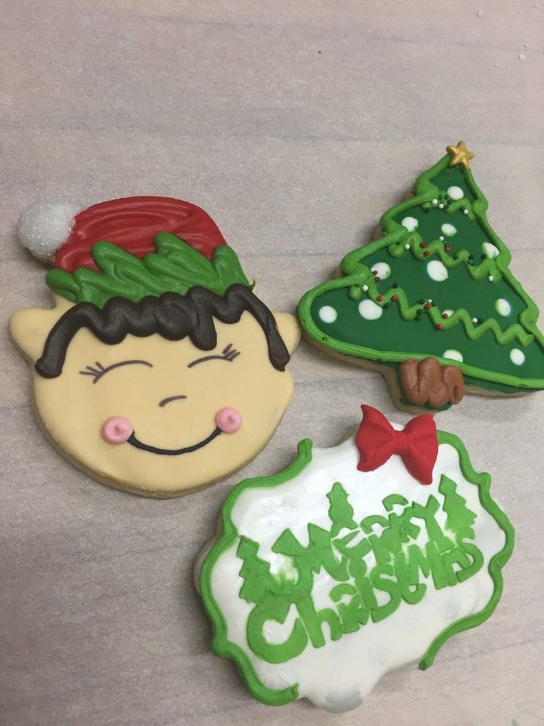 Decorated Christmas Cookies Elf Cookie Ugly Sweater Cookie